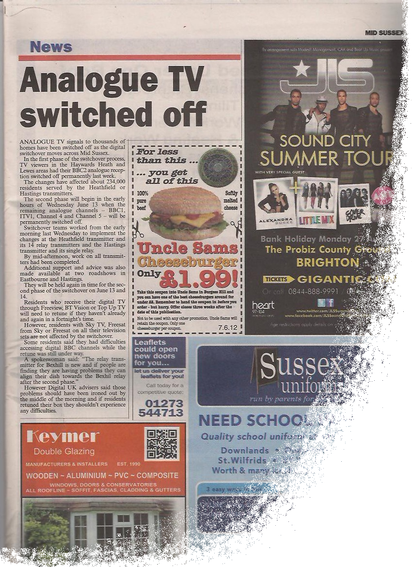 Mid Sussex Leader - Analogue TV switch off.